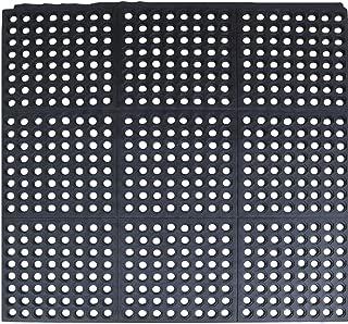 Rubber Flooring Mat with Holes - Commercial Interlock Anti-Fatigue Rubber Matting for Industrial Kitchen Restaurant Bar Bathroom, Black - (35.4