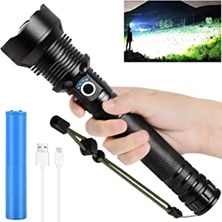 Rechargeable LED Flashlights High Lumens, 90000 Lumens Super Bright Zoomable Waterproof Flashlight with Batteries Included...