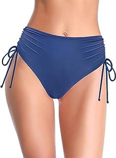 SHEKINI Women's Ruched High Waisted Bikini Bottom Tie Side Swim Short Tankinis