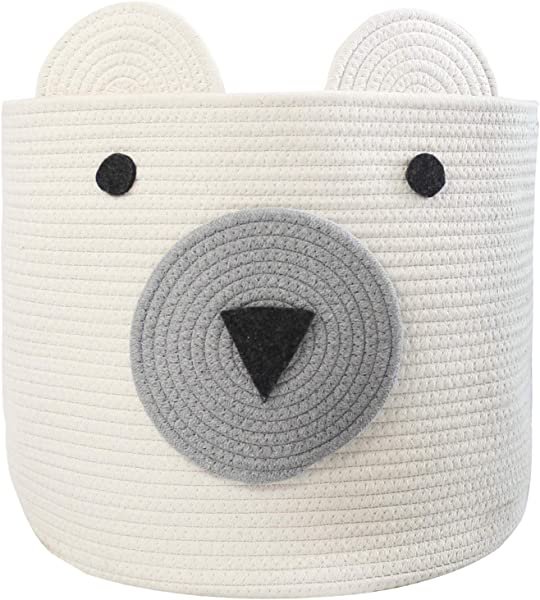 COMEMORY Cotton Rope Storage Basket With Cute Bear Design Foldable Woven Laundry Basket With Large Capacity Decorative Basket Organizer For Toys Blanket Towels Clothes 16 D X 14 H