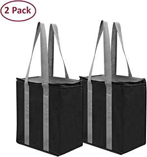 Insulated Reusable Grocery Bag Shopping Tote - Keeps Food Hot or Cold Large All Temperature Thermal Cooler Zipper Closure Lid Food Delivery and Catering (Black)