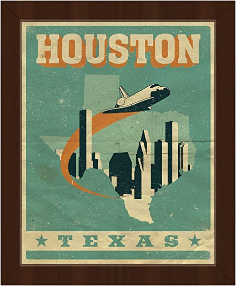 Vintage Houston Poster Graphic Retro City Of Houston Texas Skyline In Blue On Folded Paper Pattern Wall Art Print On Canvas With Espresso Frame Posters Prints