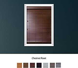 Luxr Blinds Custom Made Premium Faux Wood Horizontal Blinds W/Easy Inside Mount & Outside Mount Wood Blind - Size: 24X40 Inch & Wooden Color: Chestnut Roast