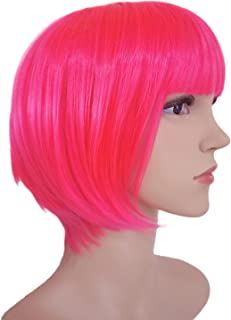 Another Me Wig Women's Hot Pink Short Straight Bob Wig 11.5