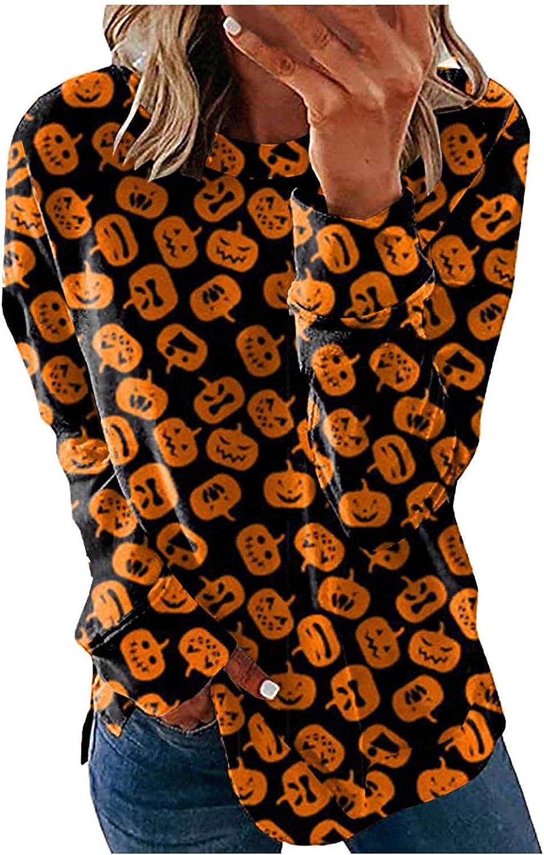 Hotkey Halloween Sweatshirts for Women, Womens O Neck Long Sleeve Tops Pumpkin Skeleton Bat Print Pullover Casual Top Blouses