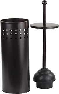 Home Basics Vented Toilet Plunger with Canister Holder Drip Cup, Bronze