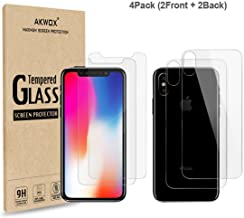 (4-Pack) Screen Protectors for iPhone X with Back Covers, Akwox 9H Tempered Glass Front Screen Protector and Back Screen Protector for iPhone X