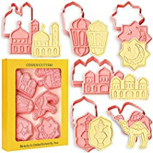 Ramadan Eid Mubarak Cookie Cutters 6 PCS Ramadan Islamic Muslim Desserts Biscuit Mold for iftar Mosque, Lantern, Camel, St...