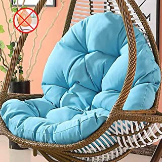 Tina's Wicker Rattan Hanging Egg Chair Pads,Non-Slip Soft Swing Chair Cushion Without Stand Indoor Balcony Pad Garden-Blue 120x86x15cm(47x34x6inch)