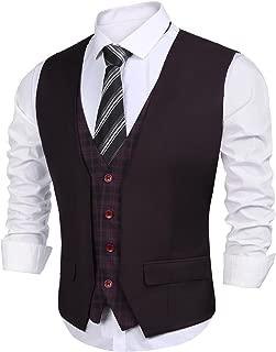 Mens Suit Vest Layered Plaid Patchwork Wedding Waistcoat Sleeveless Business Suit