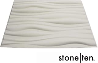 3D Wall Panels - Decorative Wall Panels - Textured Wall Paneling - Matte White Paintable 3D Wall Tiles - (32 Square Feet / 6 PCS - Tide) - Eco Friendly Modern Wall Panels