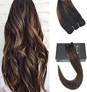 Sunny 18inch 100% Brazilian Human Hair Weave #2/2/6 Darkest Brown Root to Medium Brown Highlight with Brown Color Silk Straight Ombre Sew in Hair