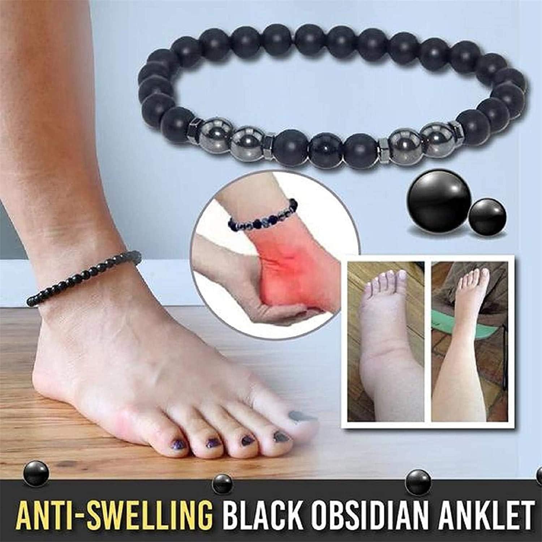 2PCS//5PCS Anti-Swelling Black Obsidian Anklet Magnet Anklet Colorful Stone Weight Loss Magnet Anklet Natural Stone Obsidian Bracelet for Men and Women