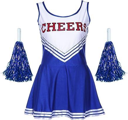 SODIAL (R) Sexy Cheerleader Kostuem blau M-Code +2 Hand Blumen blauer Anzug M (34-36)