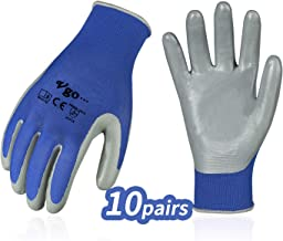 Vgo 10 Pairs Nitrile Coating Gardening and Work Gloves(Size S,Blue,NT2110)