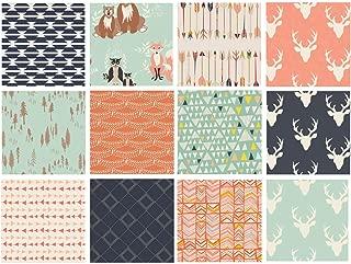 Hello Bear Quilt Fabric Bundle | Navy Mint Peach Woodland Fabrics | Deer Heads | Forest Animals | Art Gallery Fabrics | Bonnie Christine (Fat quarters)