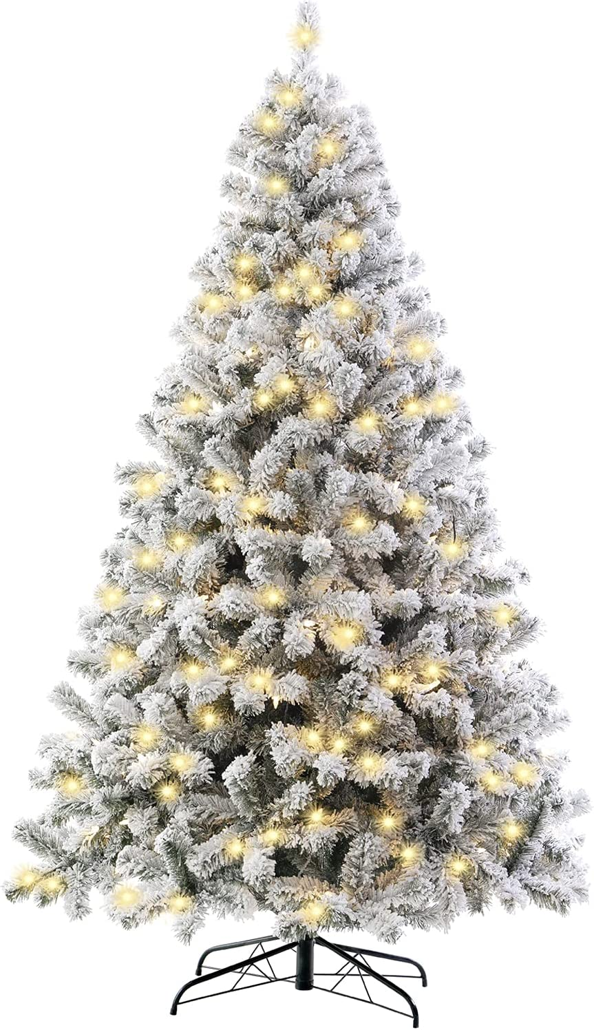 SINTEAN 7.5FT Snow Flocked Prelit Christmas Tree, Premium Hinged Artificial Xmas Tree with LED Warm White Lights, Reinforced Metal Base & Easy Assembly