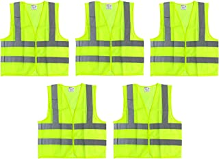 BRUFER 60163 High Visibility Reflective Safety Vests (5, Neon Yellow Extra Large)