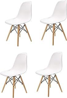 N/A Conjunto de Cuatro sillas de Comedor, Silla de plástico Patas de Metal, Muebles de Oficina Modernos e Informales (Blanco)