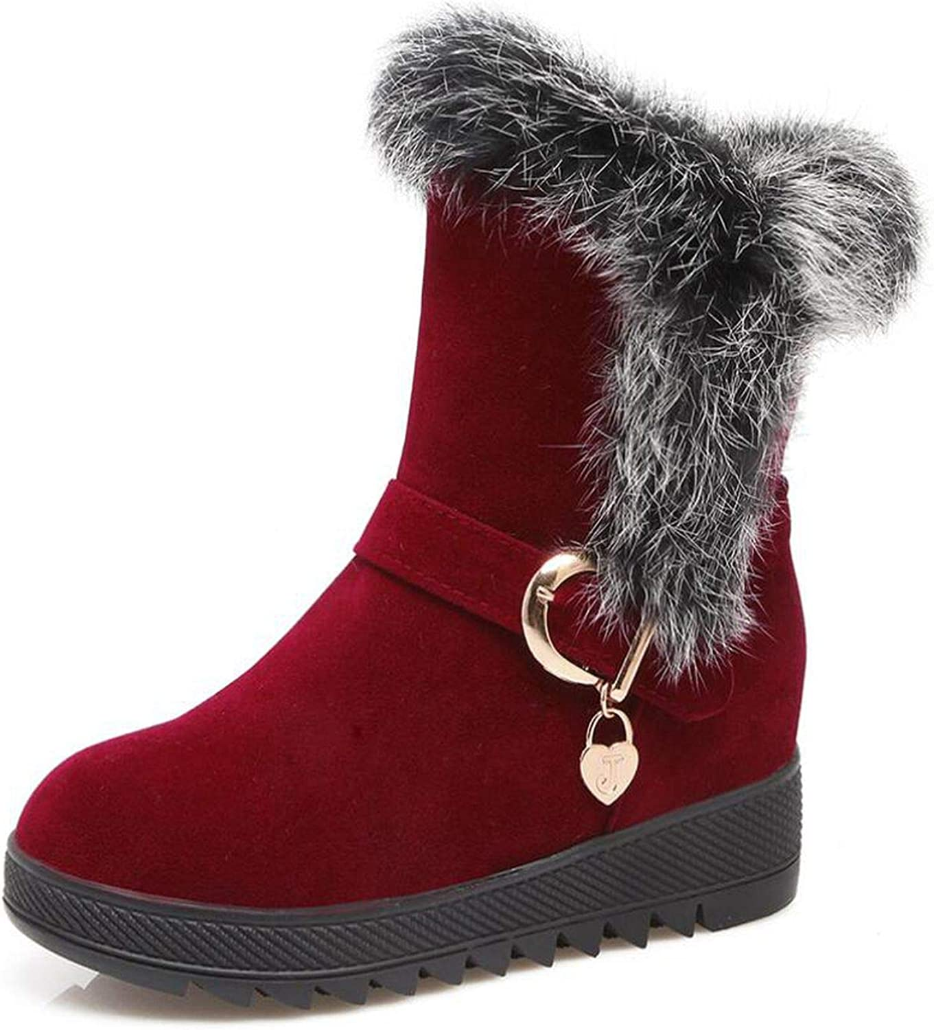 Winter Natural Rabbit Hair Snow Boots Woman Warm Flat Mid Suede Leather Short Bo