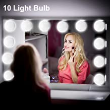 Mirror Lights Kit String Light LED Vanity Makeup Mirror Light Hollywood Style Makeup Bulbs for Vanity Table Set in Home Bathroom Dressing Room (White, 10 Light Bulbs & 5 Levels Brightness Display)