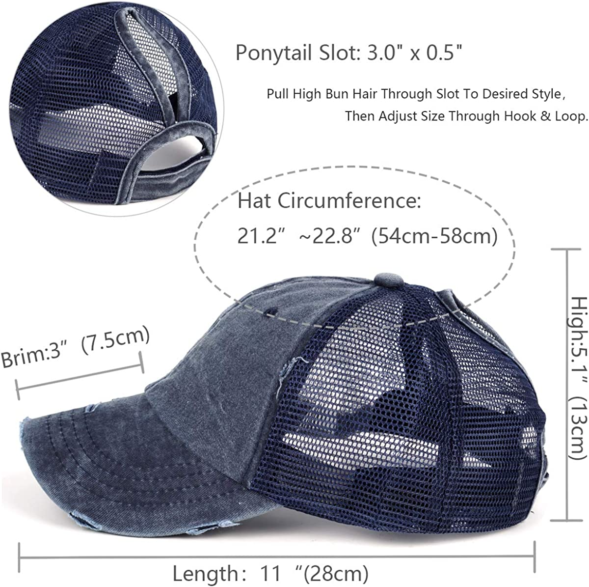 Criss Cross Ponytail Hat,Washed Distressed Ponytail Baseball Cap for Women,Cotton High Messy Buns Hats Adjustable Ponycaps