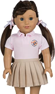 My Genius Dolls CUSTOMIZABLE School Uniform for American Girl Doll | Your Own School Logo | DIY Accessories and Clothes | Fits All 18 inch Dolls like Our Generation, My Life,Packed (Pink)