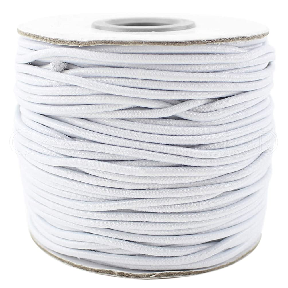 CleverDelights White Fabric Elastic Cord - 30 Feet - 2mm - Crafts Beading Jewelry Stretch Shock Cording