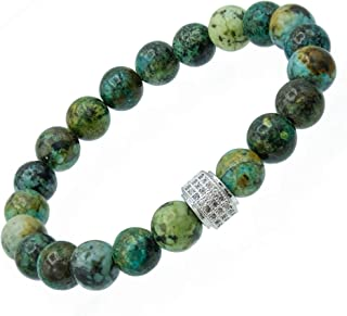 globi Natural 8mm Semi-Precious Gemstone Stretch Beaded Bracelet - Handmade Stretchable Bracelets/w Genuine Natural Stones...