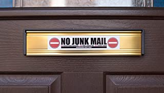 No Junk Mail - Charity Bags - Front Door Letter Box Sign Sticker (Length 7 inches)