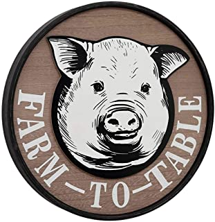 Round Farm to Table Sign, Farmhouse Wall Decor, Vintage Retro Pig Sign for Home Decor Wall,15.75 x 1.5 inches