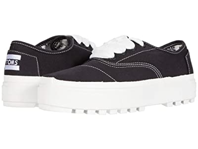 TOMS Cordones Lug Sneaker (Black Canvas) Women