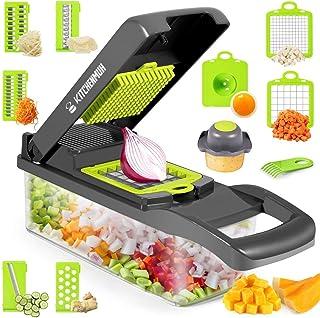 هلی کوپتر سبزیجات ، دستگاه خردکن پیاز 12 در 1 با یک ظرف بزرگ ، دستگاه برش قابل تنظیم ماندولین ، دستگاه برش آشپزخانه خانگی برای سبزیجات ، سری برش خردکن میوه میوه پنیر سبزیجات