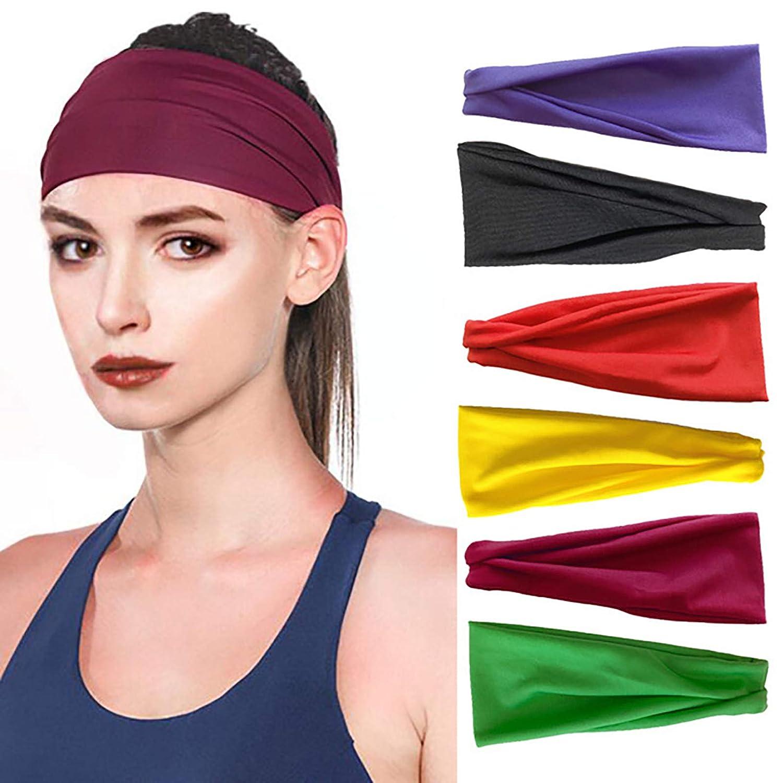 6 PCS Running Sports Cotton Headbands Tie Dye Elastic Non Slip Sweat Soft Headbands Workout Fashion Hair Bands for Girls Headbands For Women