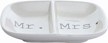 "Creative Co-Op DA4442 Ceramic 2 Section ""Mr."" & ""Mrs."" Dish"