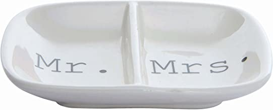 "Creative Co-Op Ceramic ""Mr. & Mrs."" Two Section Dish, White"