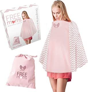 360° Nursing Cover Poncho Style - Rigid Neckline Breastfeeding Cover with Carry Bag - Covers Fully - Soft Breathable Cotton to Fit All for Discreet Feeding in Public