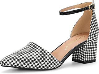 Allegra K Women's Houndstooth Ankle Strap Block Heels Pumps