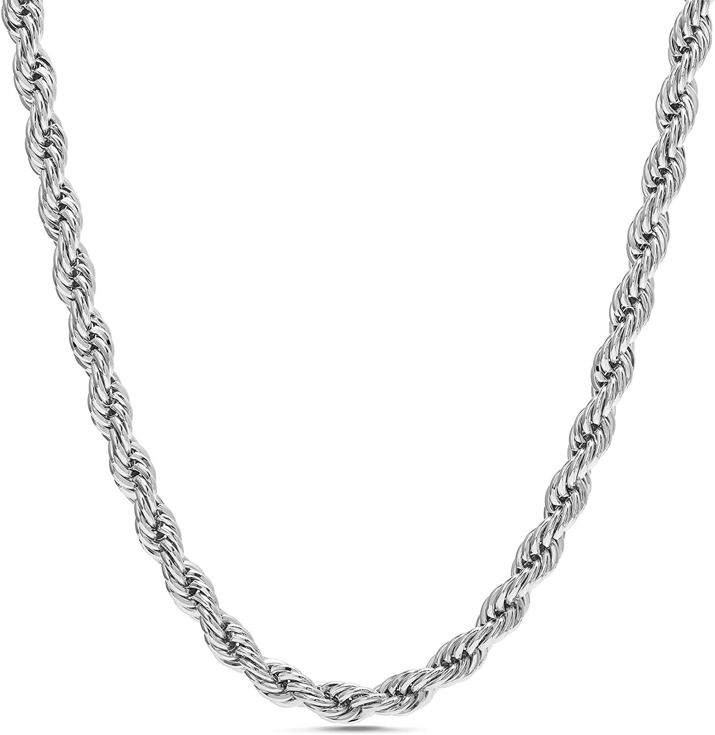 Nautica 2mm Dedication - 8mm Rope Chain Necklace Rhodiu or for in Women Men Max 90% OFF