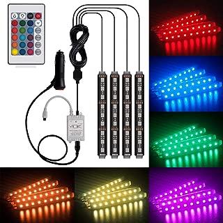 Car LED Strip Lights Interior LIghts Kit, Henlight 4 Pcs 36LED 16 Colors Multi-color Car Under Dash Lighting, Waterproof Car Neno Lights Strip with Multi-Mode Change and Remote Control