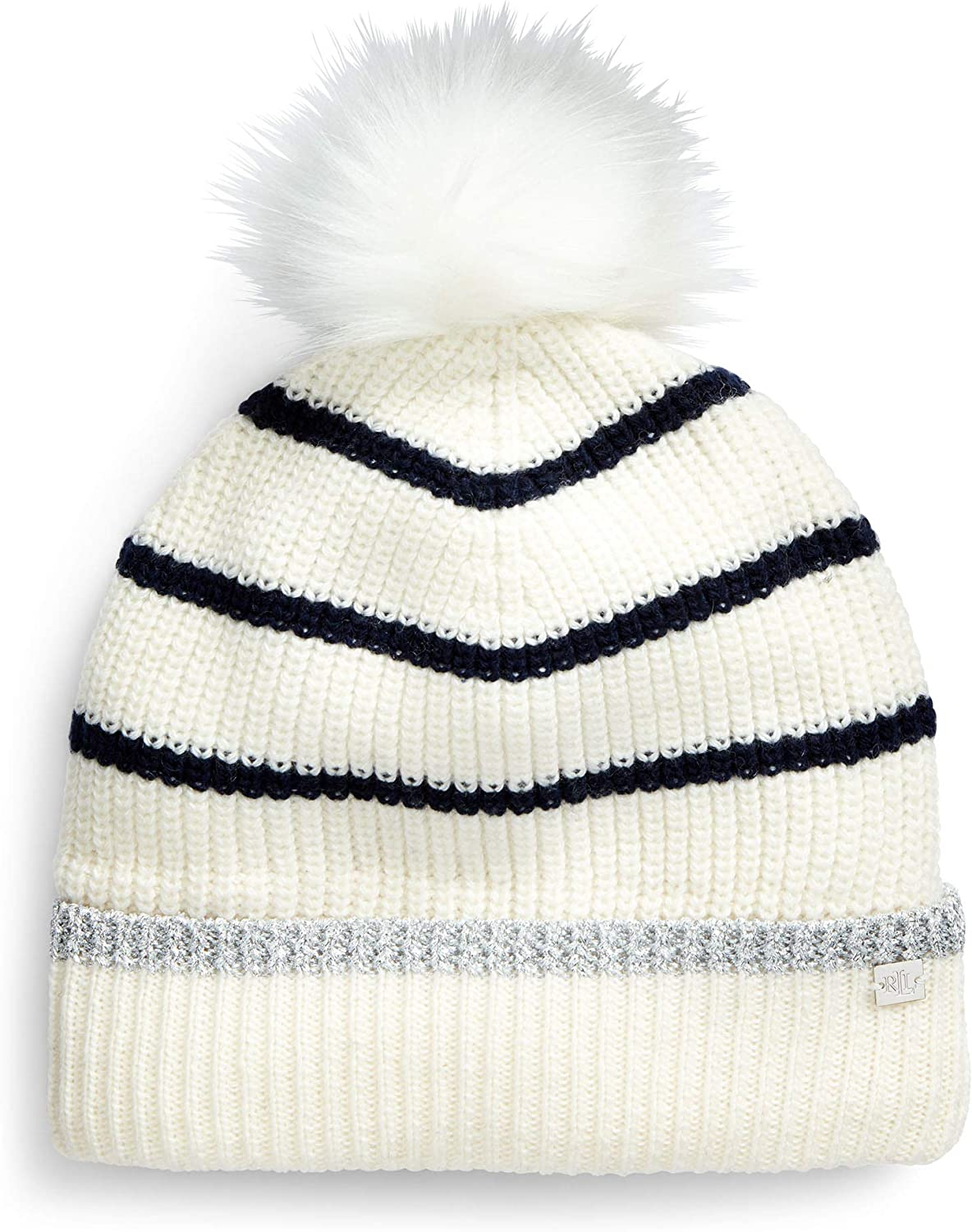 LAUREN RALPH Metallic Beanie Tipped Don't miss the campaign Striped Dealing full price reduction