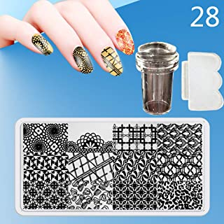 Zmond - New 12X6cm 44 Style Nail Stamping Plates Set Made Stencils Lace Flower DIY Nail Art Templates+Transparent Stamper Stamp Scraper [ 28 ]
