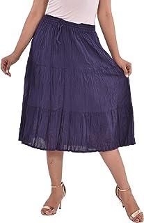 COTTON BREEZE Women's A-line Skirt Blue