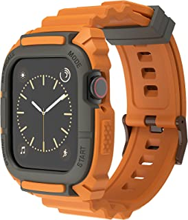 Horlogeband Compatibel met Apple Watch 44/42 mm, Loxoto Schokbestendige Beschermhoes Vervangende Band met TPU-riem Geschik...
