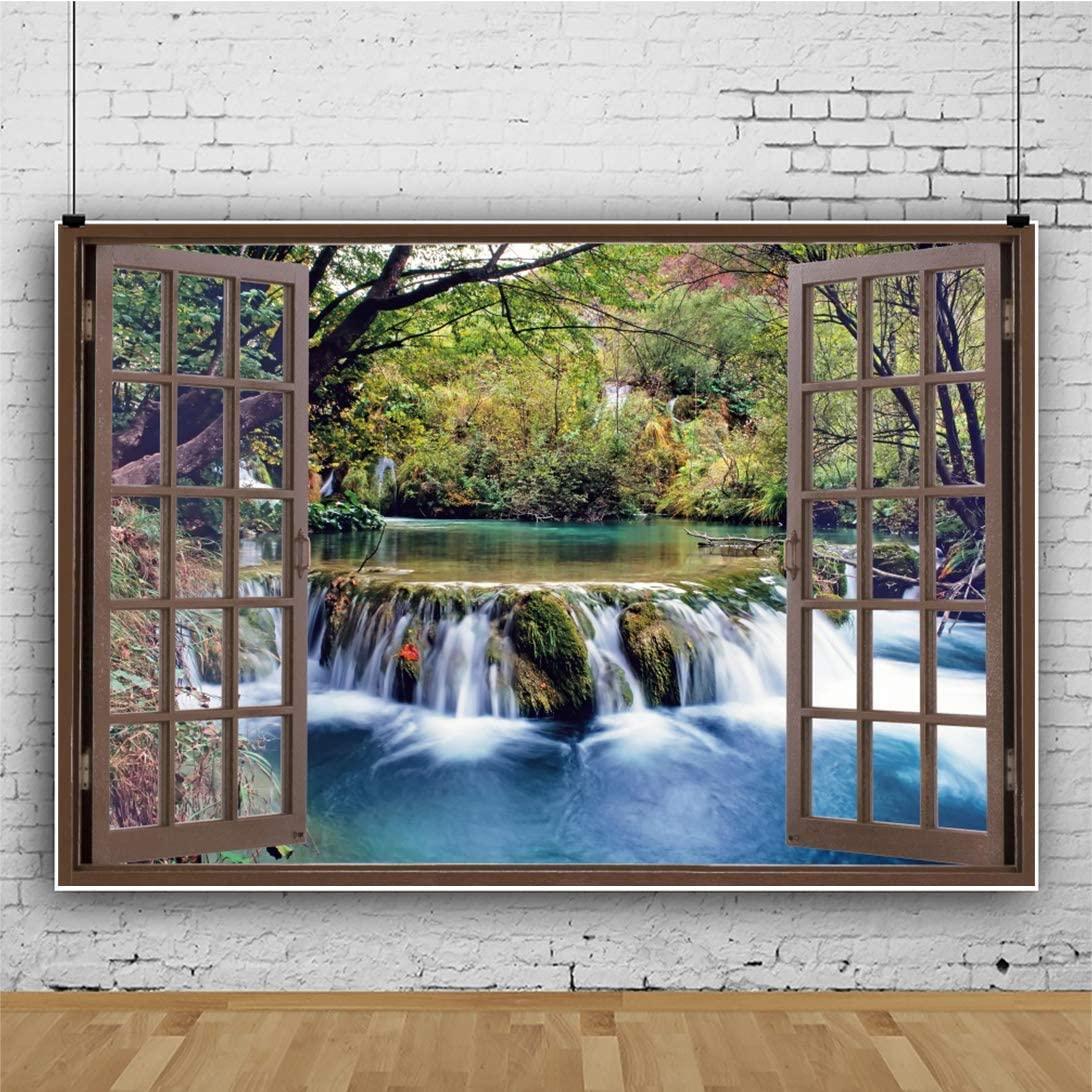 12x8FT Scenery of The Stream Outside The Window Backdrop Wooden Window Tropical Jungles Ancient Trees Photography Background Kids Adults Polyester Portraits Studio Props