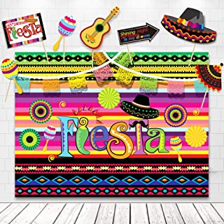 TMCCE Fiesta Theme Photography Backdrop Mexican Themed Dress-up Photobooth for Summer Fiesta Luau Theme Cinco De Mayo Birt...