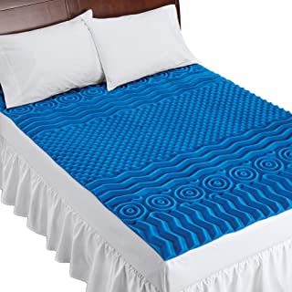 Deluxe Cooling Mattress Pad Topper with 7 Zone Support Construction - Made in USA, Blue, King - Made in The USA
