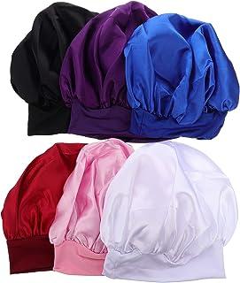 Beaupretty — Boina de cetim com faixa larga para dormir, touca de cetim com 6 peças