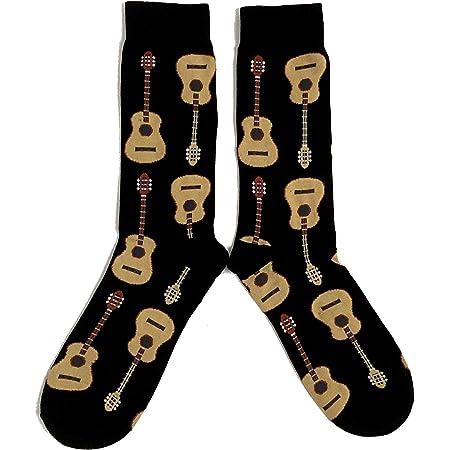 Mens Acoustic Guitar Black Socks 6-11 UK / 39-45 Eur / 7-12 US