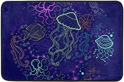 Not Slip Doormats Rugs Abstract Ocean Sea Animals Soft Foam Printing for Living Room Kids Bedroom Bathroom Door Mats 23.6x15.7 inch